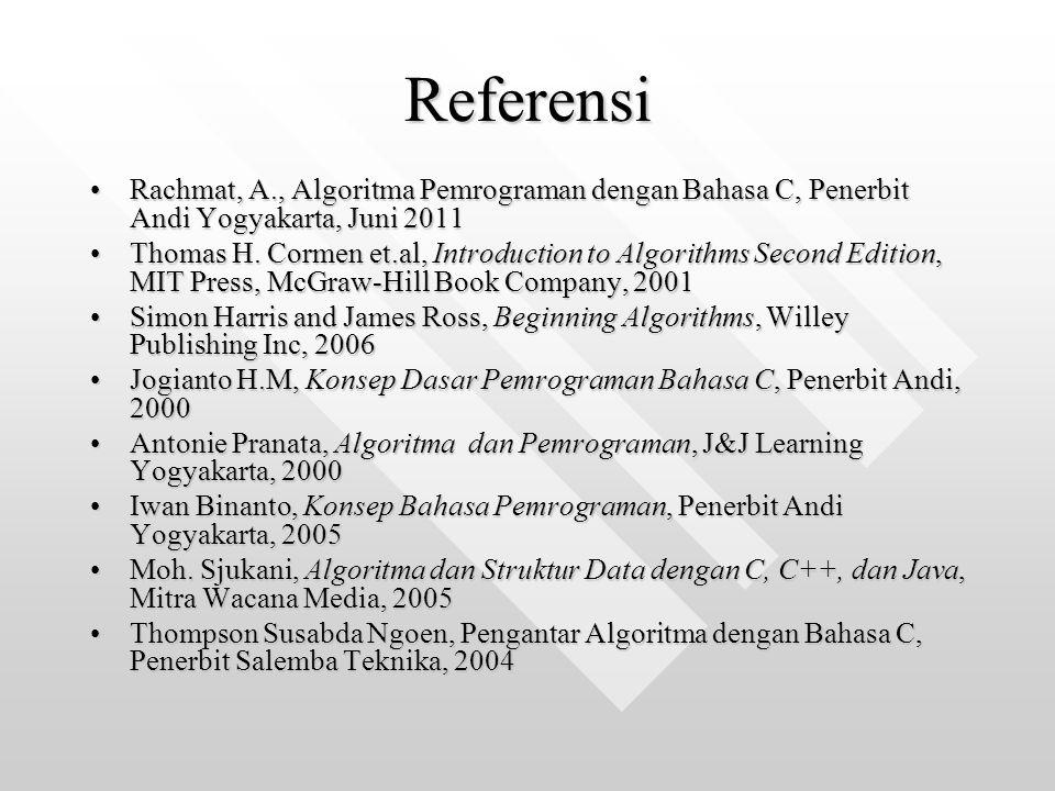 Referensi Rachmat, A., Algoritma Pemrograman dengan Bahasa C, Penerbit Andi Yogyakarta, Juni 2011.