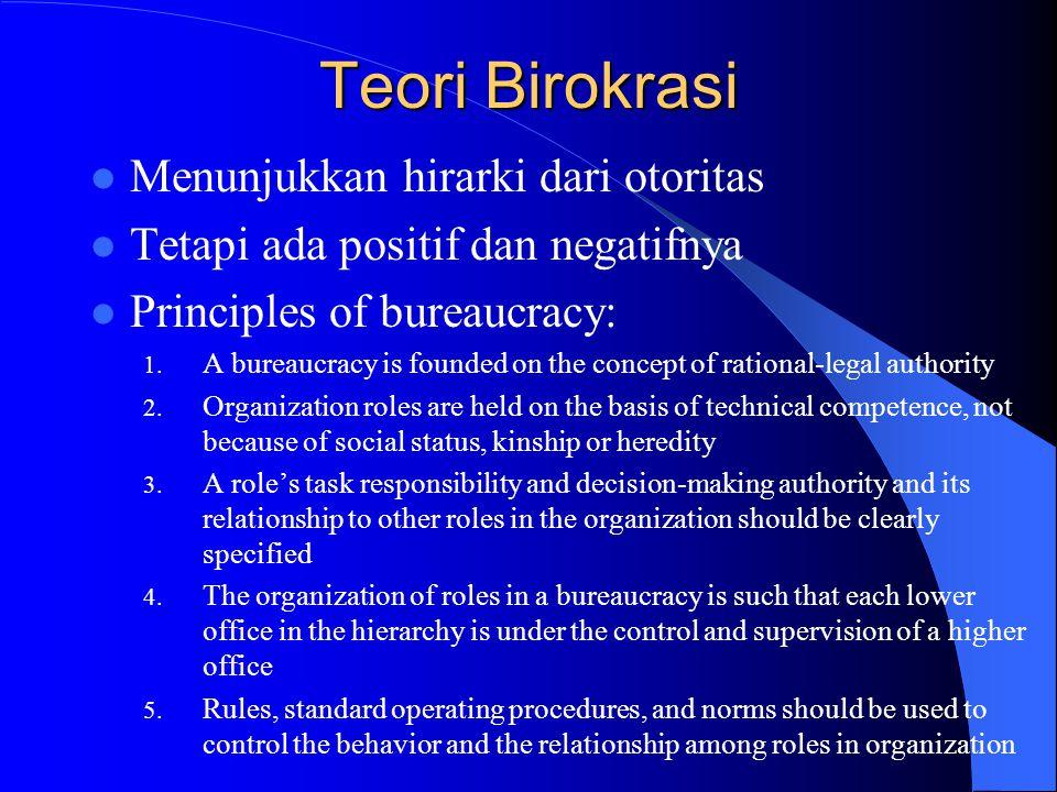 Teori Birokrasi Menunjukkan hirarki dari otoritas