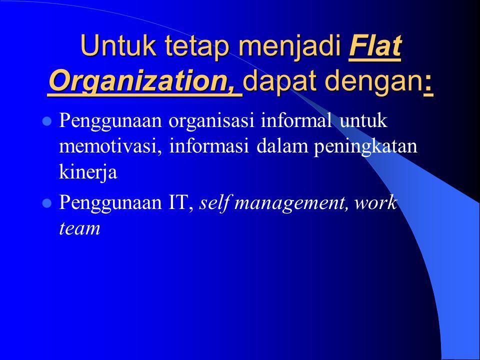 Untuk tetap menjadi Flat Organization, dapat dengan: