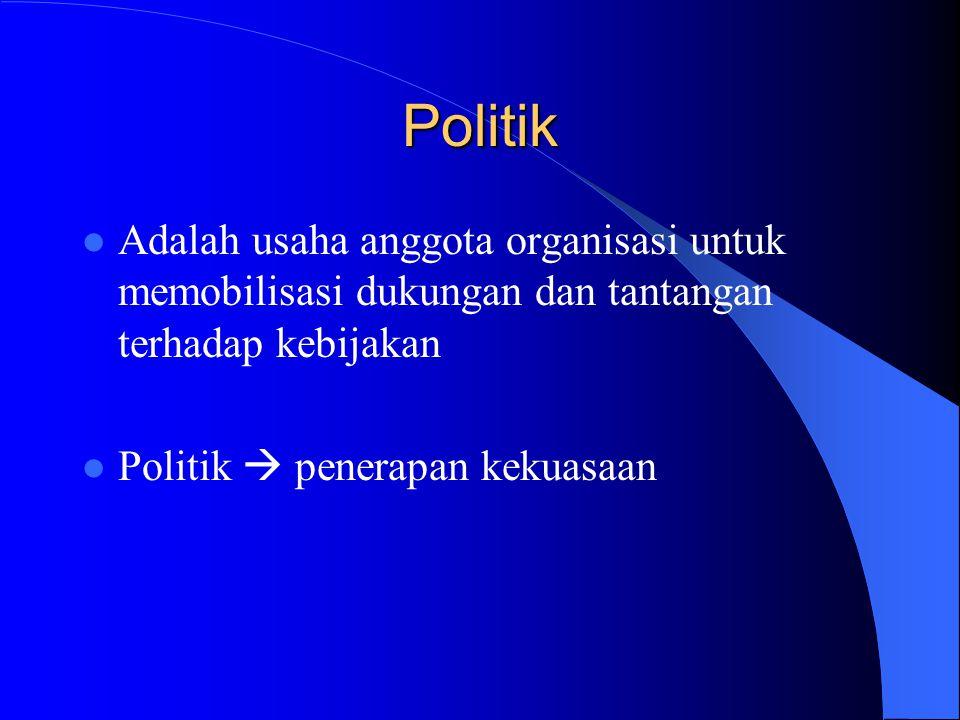 Politik Adalah usaha anggota organisasi untuk memobilisasi dukungan dan tantangan terhadap kebijakan.
