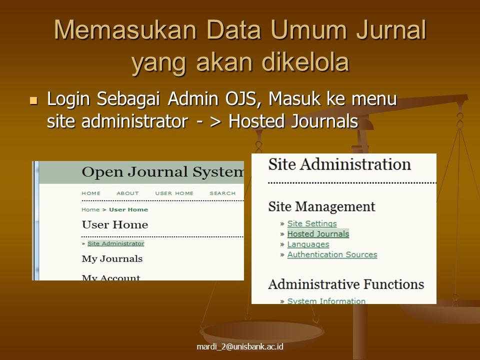 Memasukan Data Umum Jurnal yang akan dikelola