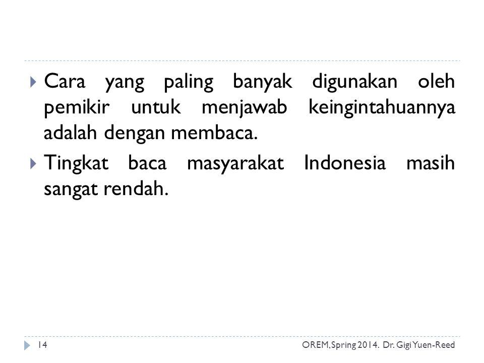 Tingkat baca masyarakat Indonesia masih sangat rendah.