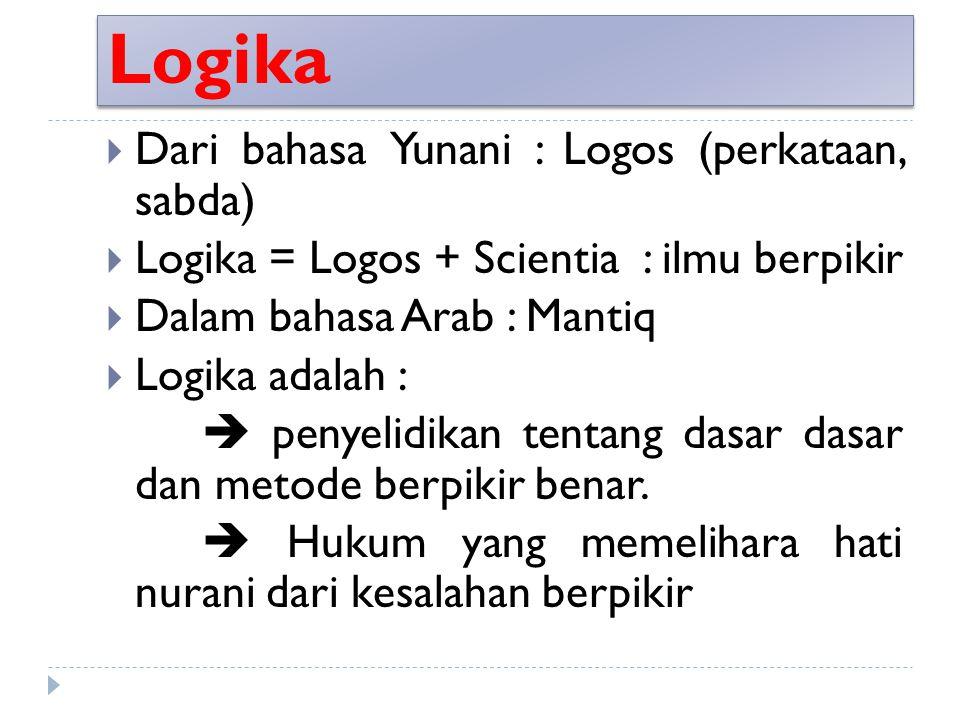 Logika Dari bahasa Yunani : Logos (perkataan, sabda)