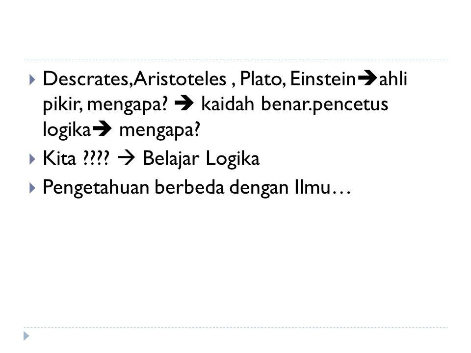 Descrates,Aristoteles , Plato, Einsteinahli pikir, mengapa