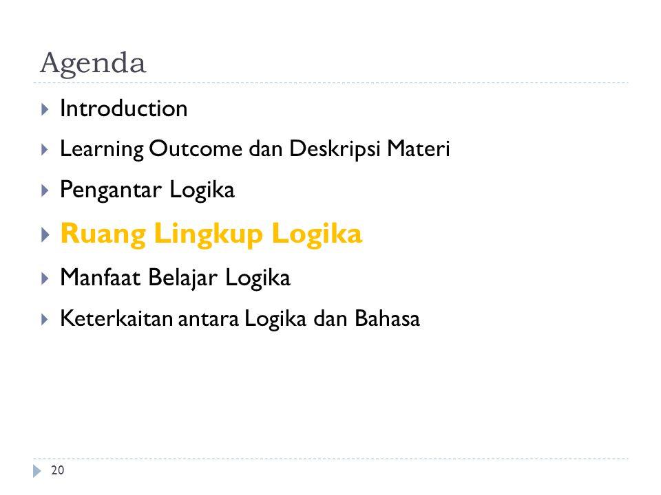 Agenda Ruang Lingkup Logika Introduction Pengantar Logika