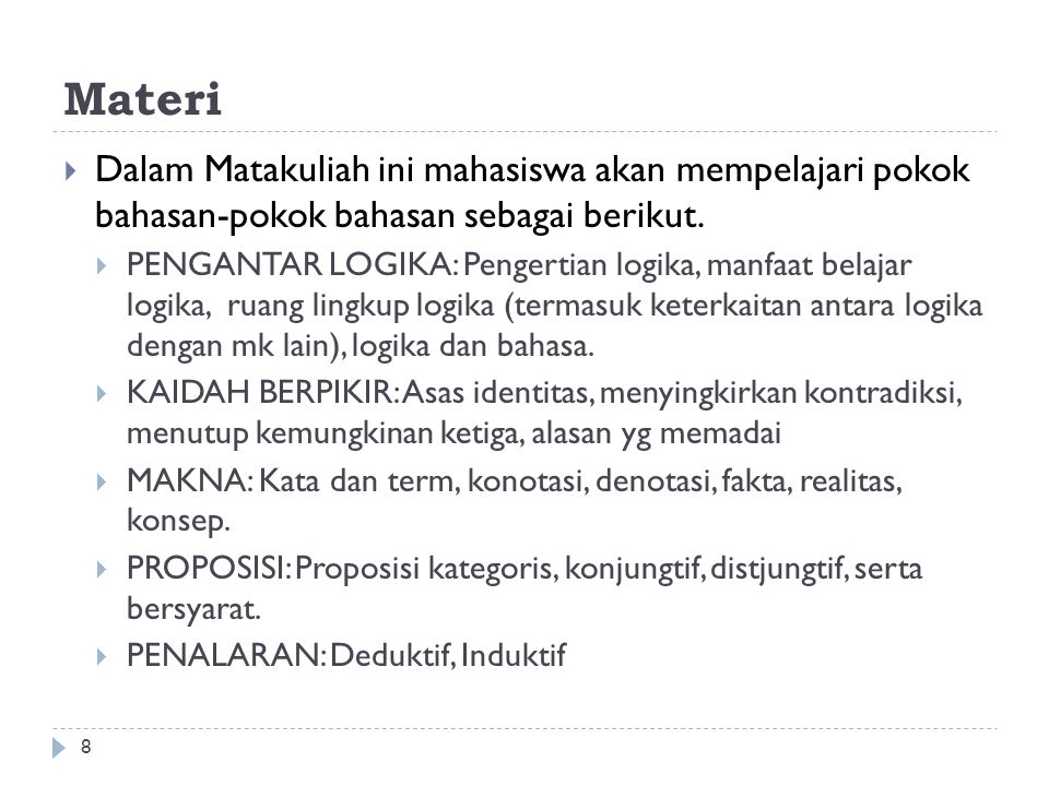 Materi Dalam Matakuliah ini mahasiswa akan mempelajari pokok bahasan-pokok bahasan sebagai berikut.