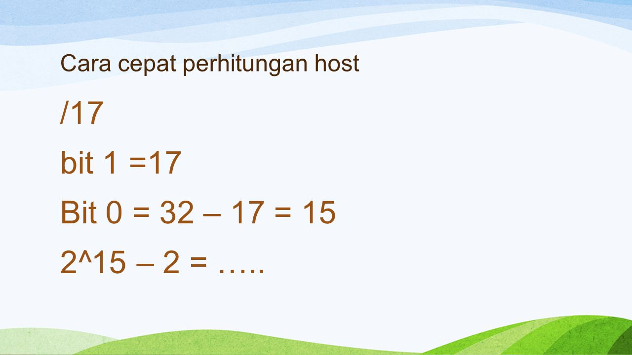 Cara cepat perhitungan host