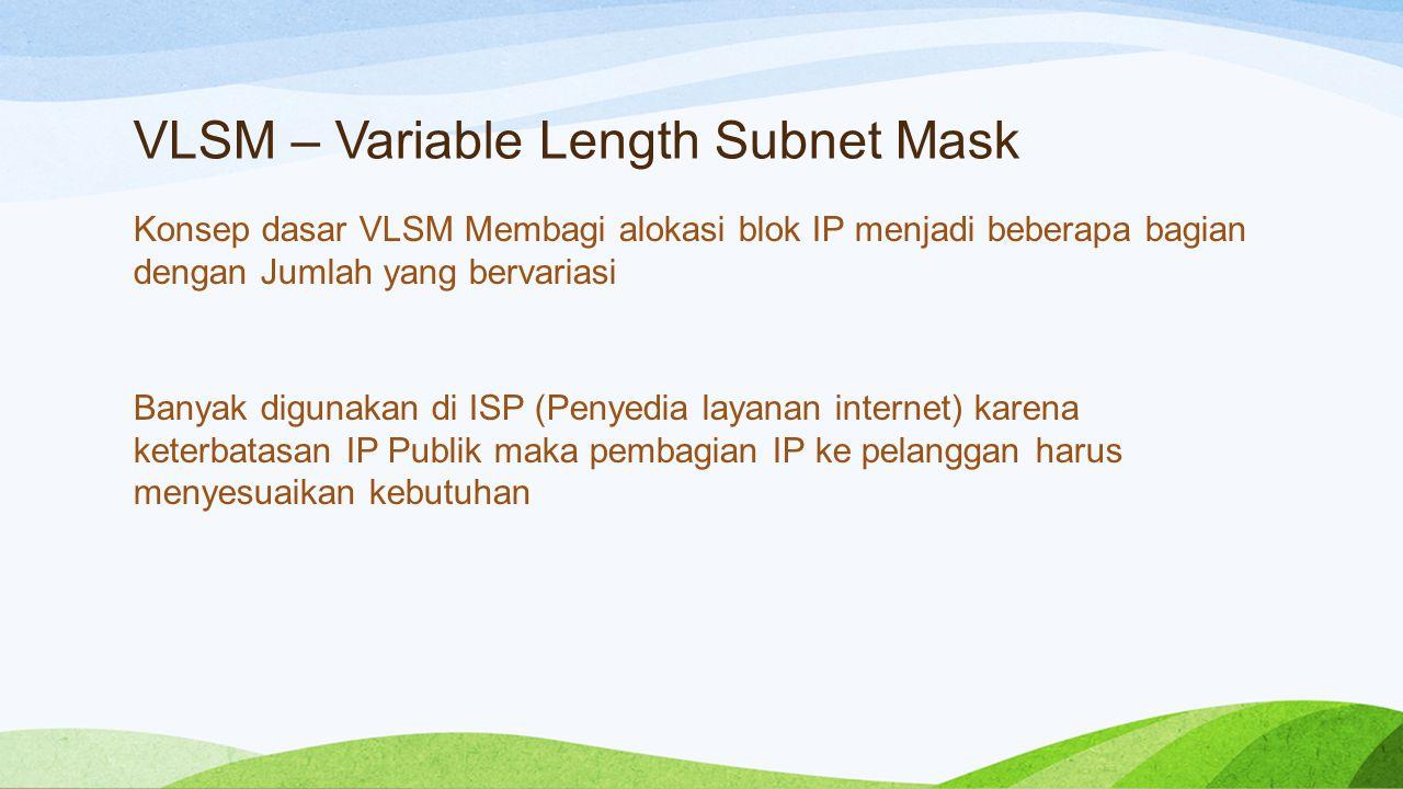 VLSM – Variable Length Subnet Mask
