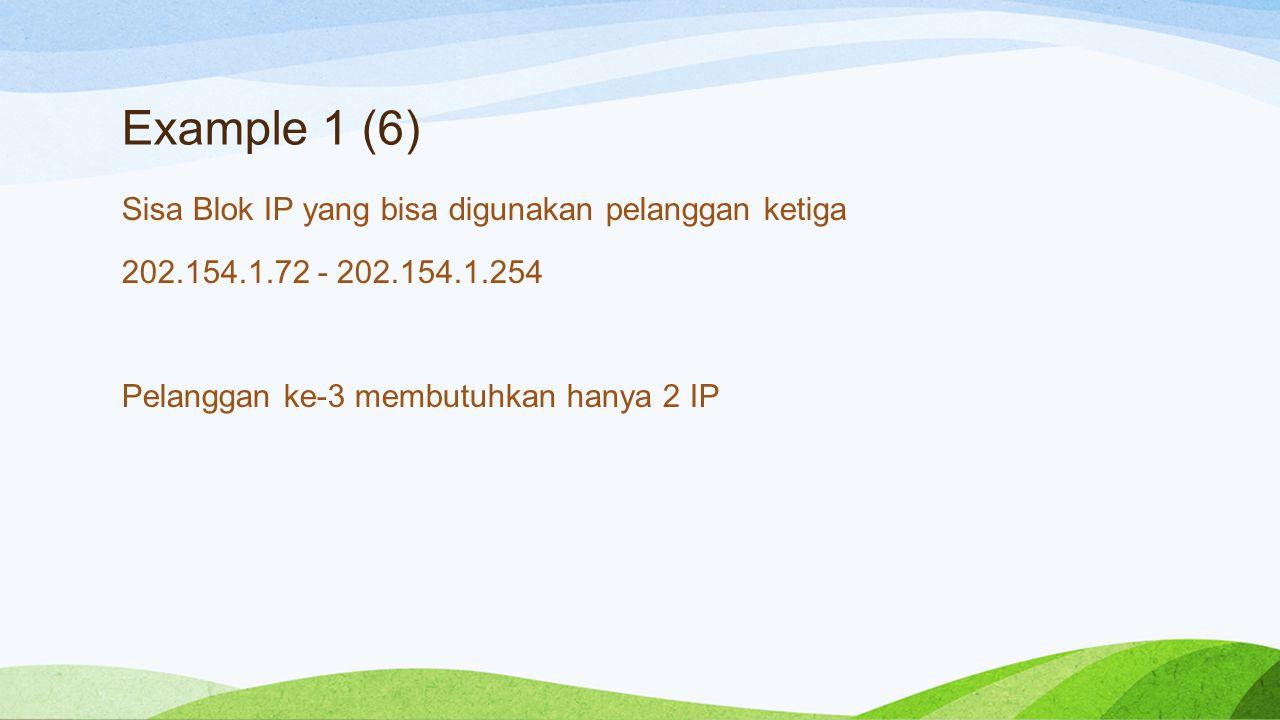 Example 1 (6) Sisa Blok IP yang bisa digunakan pelanggan ketiga 202.154.1.72 - 202.154.1.254 Pelanggan ke-3 membutuhkan hanya 2 IP