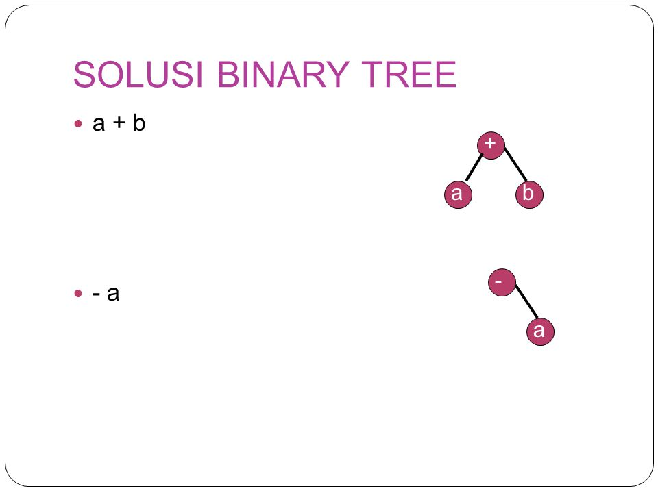 SOLUSI BINARY TREE a + b - a + a b - a