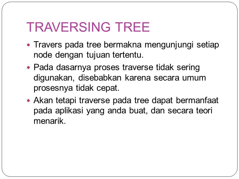 TRAVERSING TREE Travers pada tree bermakna mengunjungi setiap node dengan tujuan tertentu.