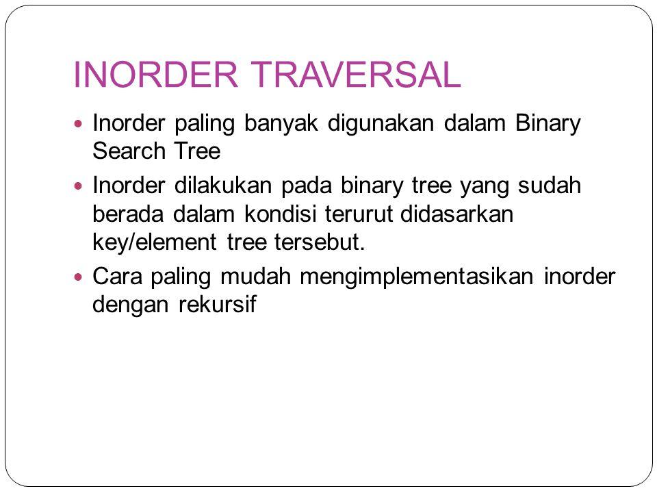 INORDER TRAVERSAL Inorder paling banyak digunakan dalam Binary Search Tree.