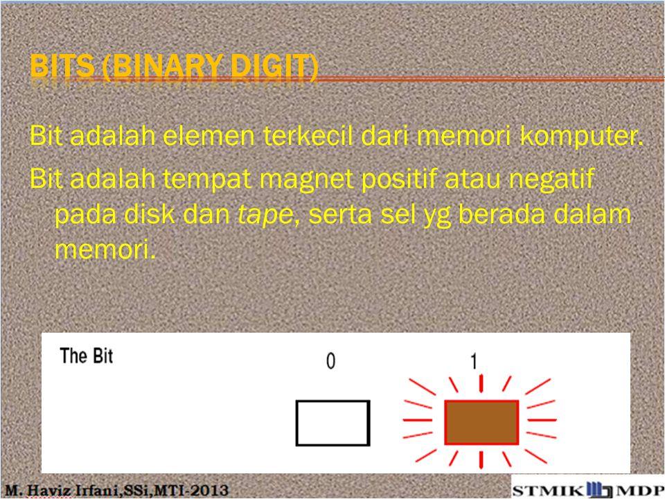 Bits (binary digit) Bit adalah elemen terkecil dari memori komputer.