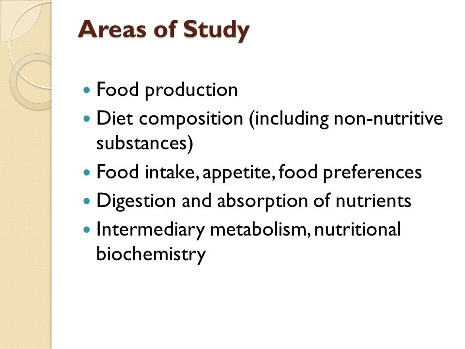 Areas of Study Food production