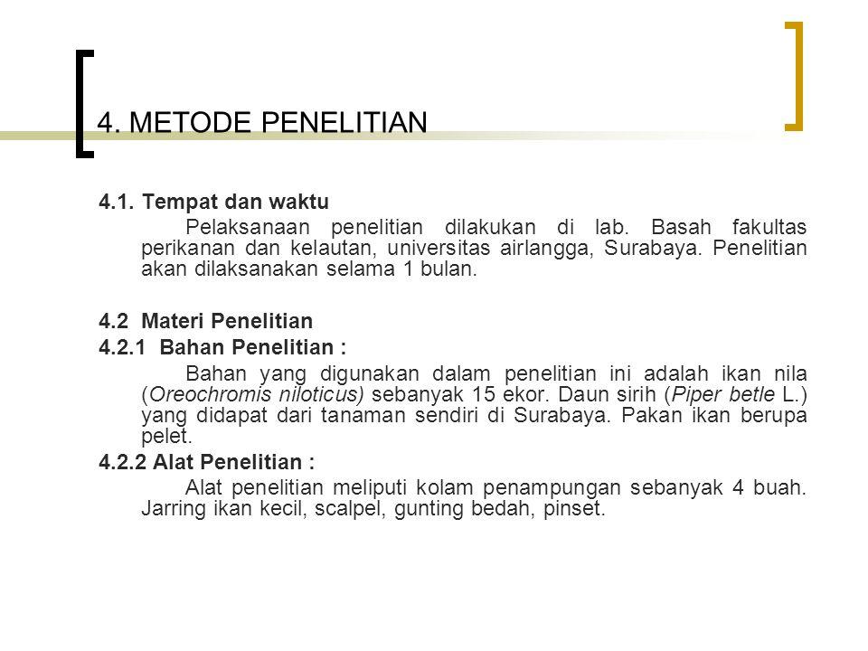 4. METODE PENELITIAN 4.1. Tempat dan waktu