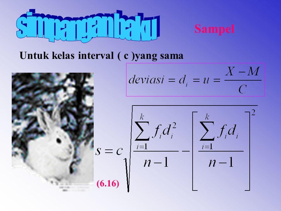 simpangan baku Sampel Untuk kelas interval ( c )yang sama (6.16)