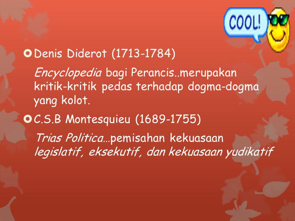 Denis Diderot (1713-1784) Encyclopedia bagi Perancis..merupakan kritik-kritik pedas terhadap dogma-dogma yang kolot.