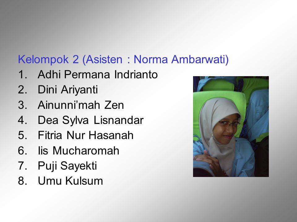 Kelompok 2 (Asisten : Norma Ambarwati)