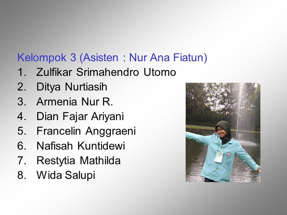 Kelompok 3 (Asisten : Nur Ana Fiatun)