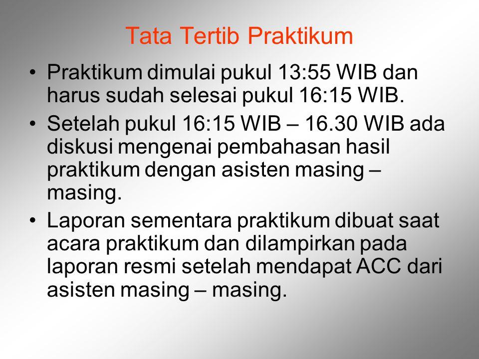 Tata Tertib Praktikum Praktikum dimulai pukul 13:55 WIB dan harus sudah selesai pukul 16:15 WIB.