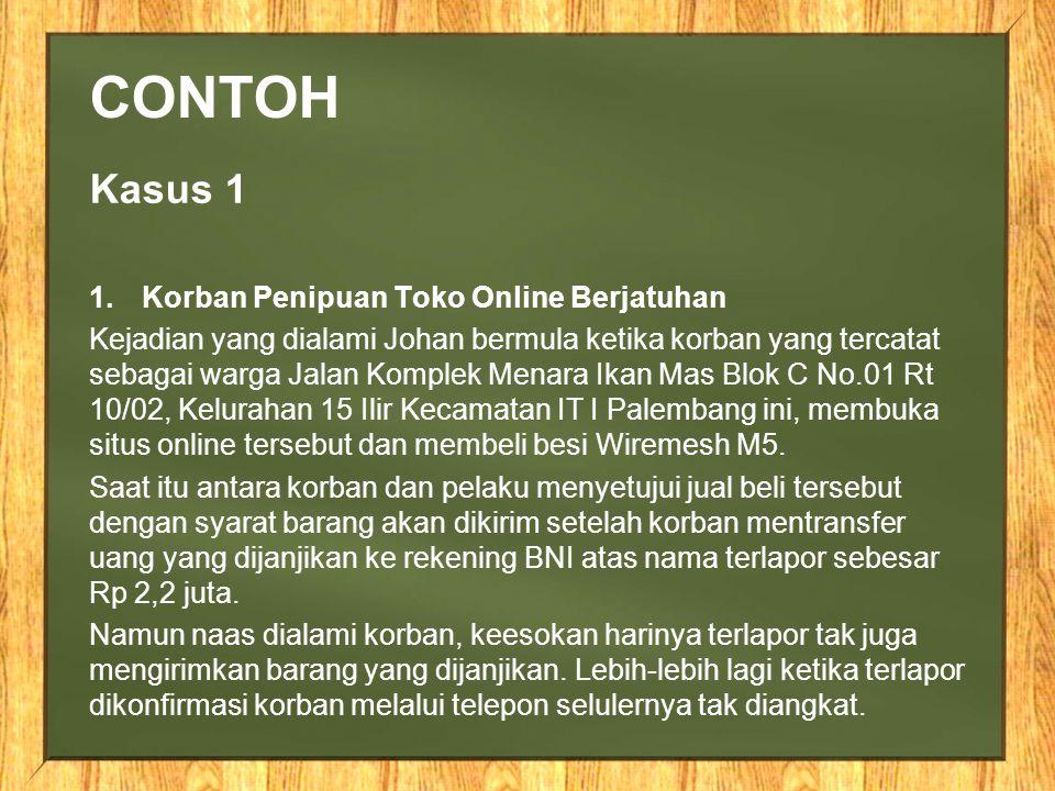 Contoh Kasus 1 Korban Penipuan Toko Online Berjatuhan