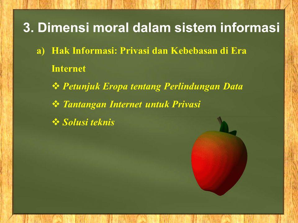 3. Dimensi moral dalam sistem informasi