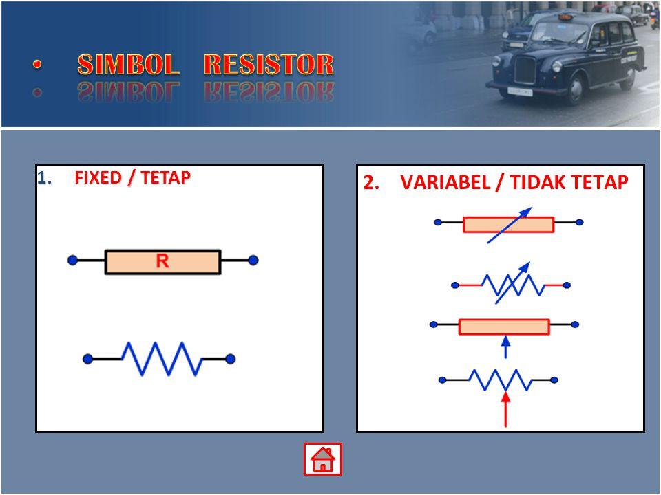 SIMBOL RESISTOR FIXED / TETAP VARIABEL / TIDAK TETAP