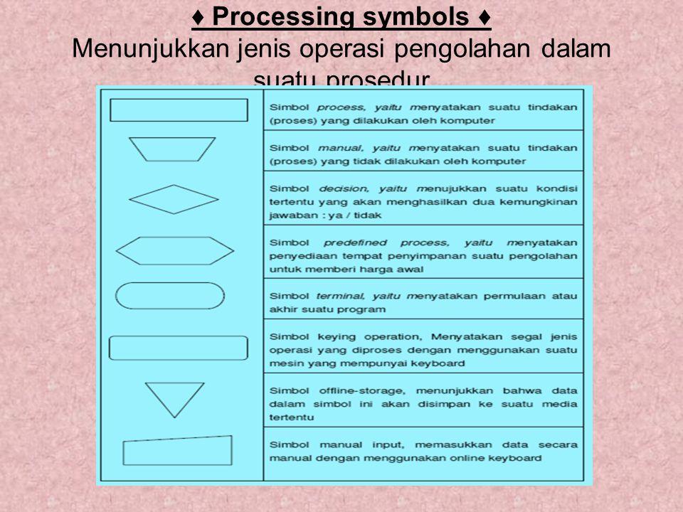 ♦ Processing symbols ♦ Menunjukkan jenis operasi pengolahan dalam suatu prosedur