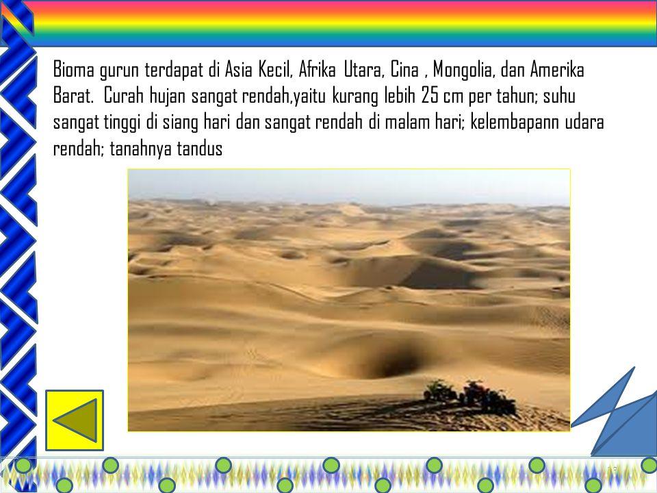 Bioma gurun terdapat di Asia Kecil, Afrika Utara, Cina , Mongolia, dan Amerika Barat.