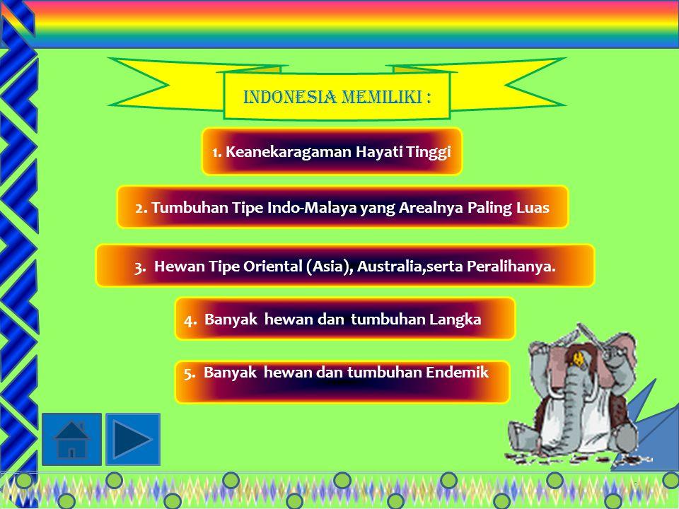 Indonesia Memiliki : 1. Keanekaragaman Hayati Tinggi