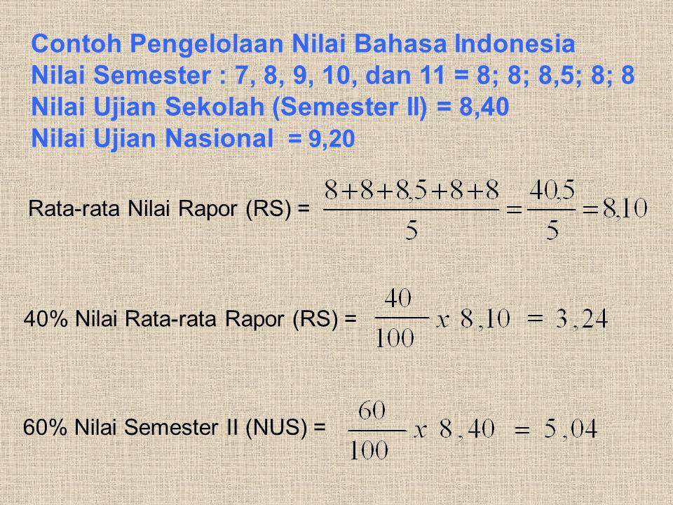 Contoh Pengelolaan Nilai Bahasa Indonesia Nilai Semester : 7, 8, 9, 10, dan 11 = 8; 8; 8,5; 8; 8 Nilai Ujian Sekolah (Semester II) = 8,40 Nilai Ujian Nasional = 9,20