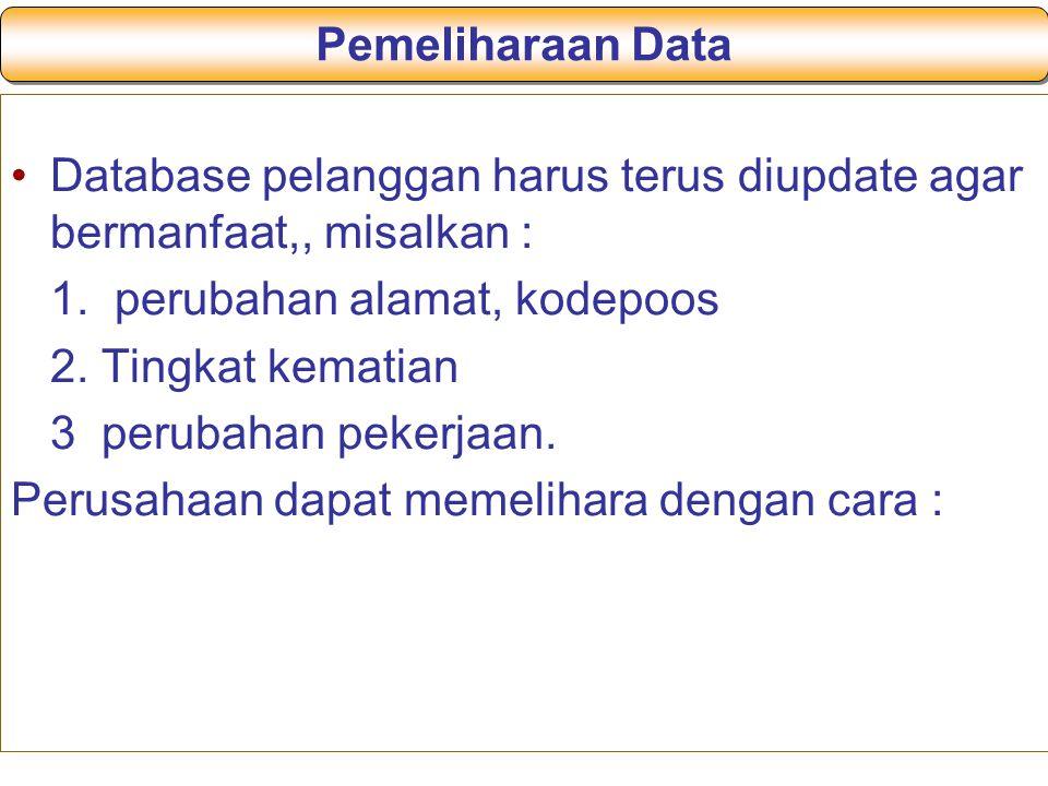 Pemeliharaan Data Database pelanggan harus terus diupdate agar bermanfaat,, misalkan : 1. perubahan alamat, kodepoos.