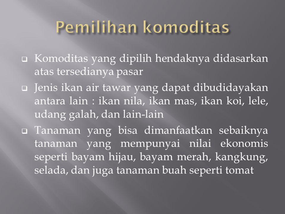 Pemilihan komoditas Komoditas yang dipilih hendaknya didasarkan atas tersedianya pasar.