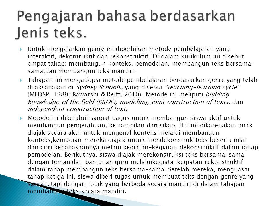 Pengajaran bahasa berdasarkan Jenis teks.