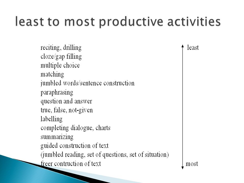 least to most productive activities