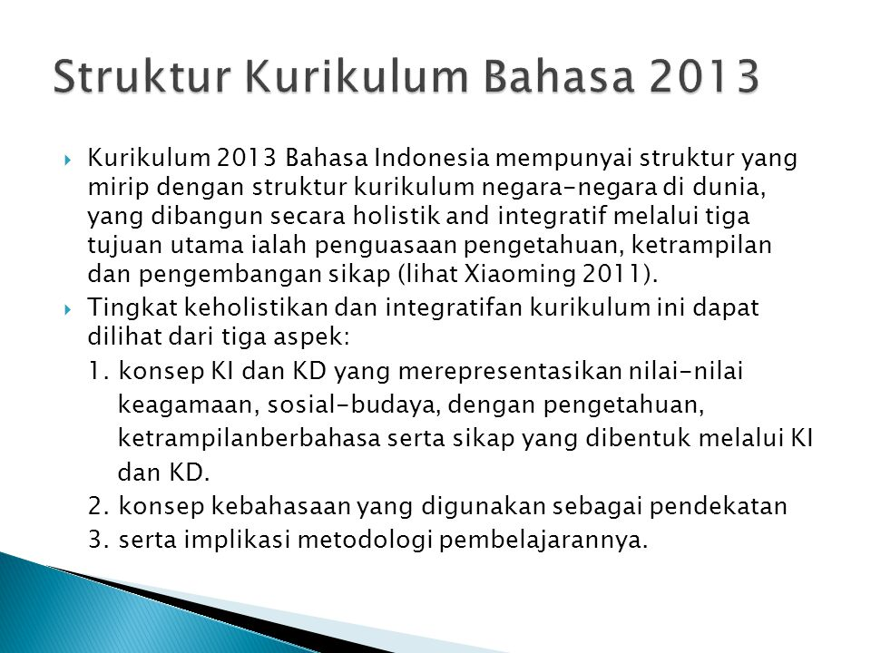 Struktur Kurikulum Bahasa 2013