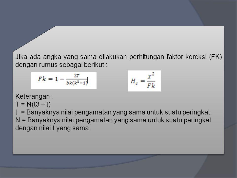 Jika ada angka yang sama dilakukan perhitungan faktor koreksi (FK) dengan rumus sebagai berikut :