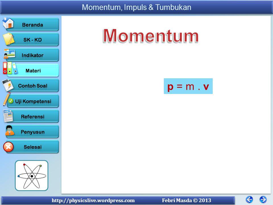 Momentum Momentum suatu benda adalah hasil kali massa dengan kecepatannya. Secara matematis dituliskan :