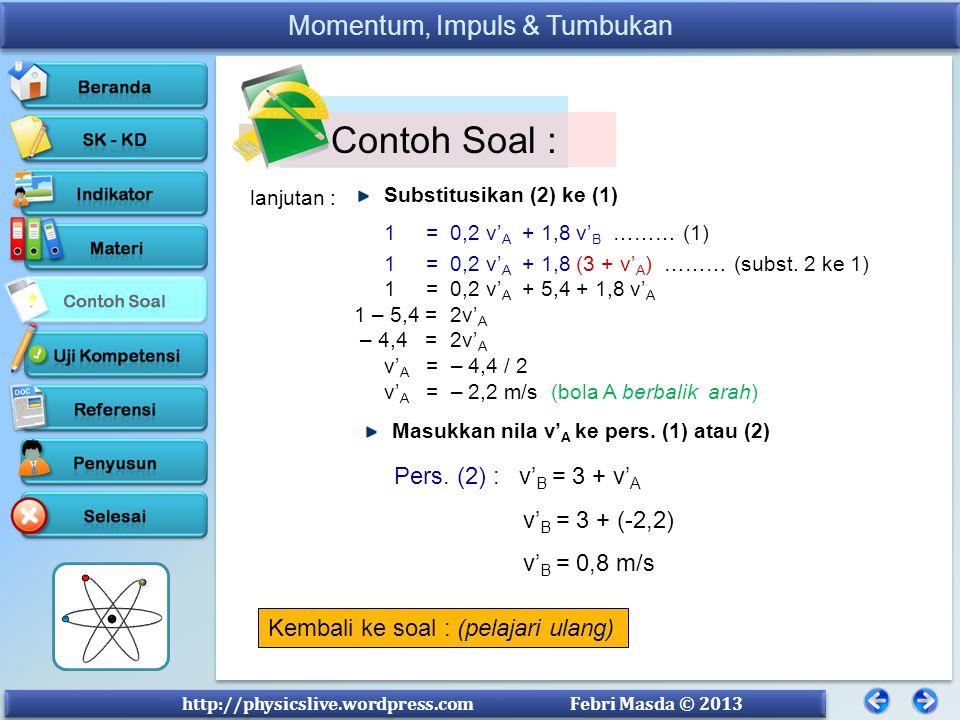 Contoh Soal : Pers. (2) : v'B = 3 + v'A v'B = 3 + (-2,2) v'B = 0,8 m/s