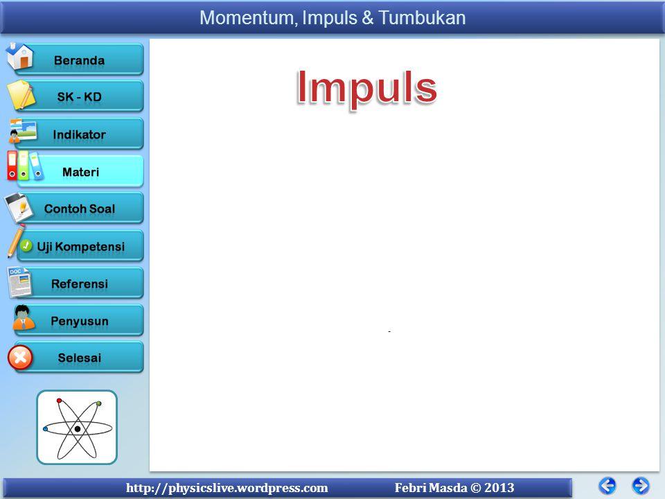 Impuls I = F . t Impuls adalah hasil kali gaya dengan selang waktu.