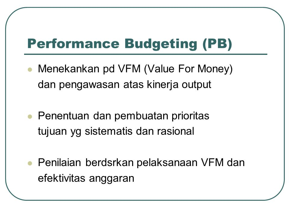Performance Budgeting (PB)