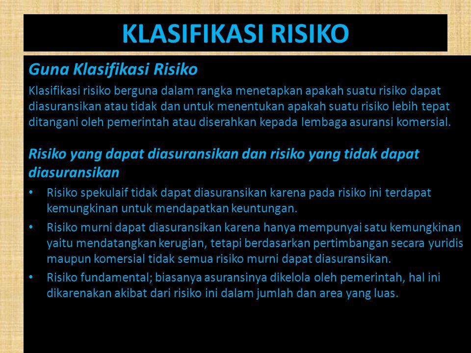 KLASIFIKASI RISIKO Guna Klasifikasi Risiko