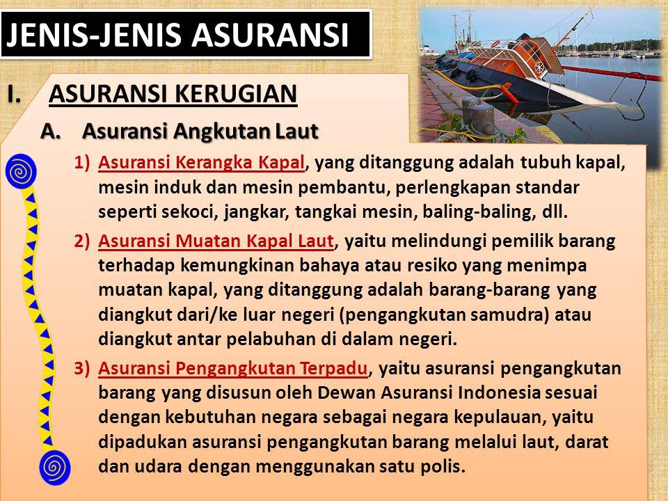JENIS-JENIS ASURANSI ASURANSI KERUGIAN Asuransi Angkutan Laut