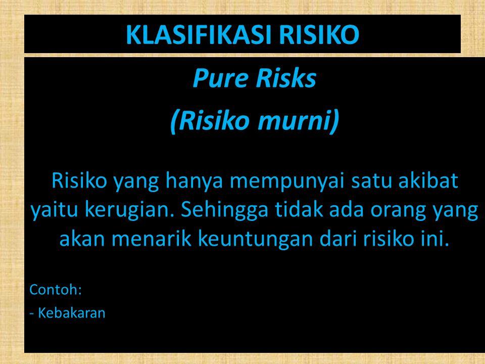 KLASIFIKASI RISIKO Pure Risks (Risiko murni)