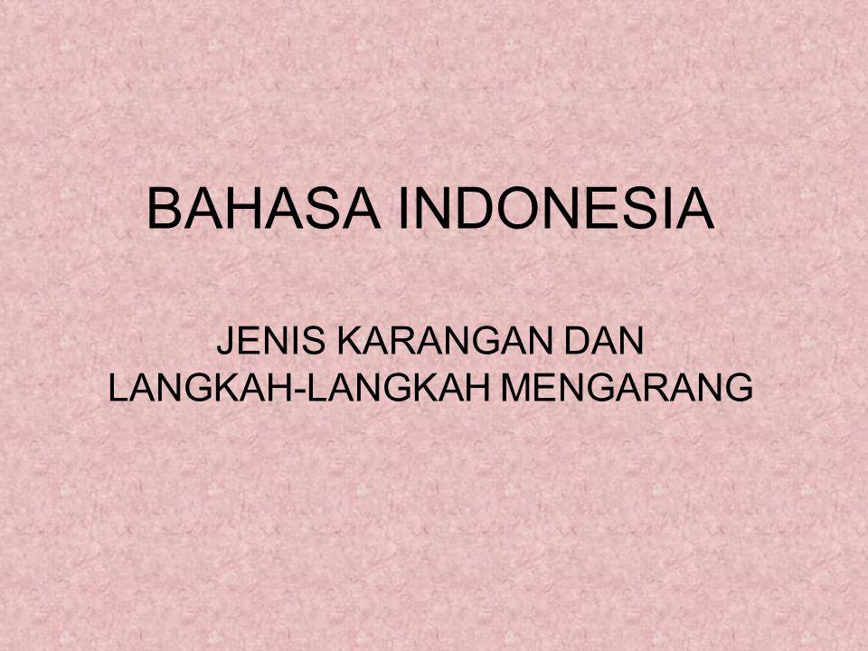 BAHASA INDONESIA JENIS KARANGAN DAN LANGKAH-LANGKAH MENGARANG
