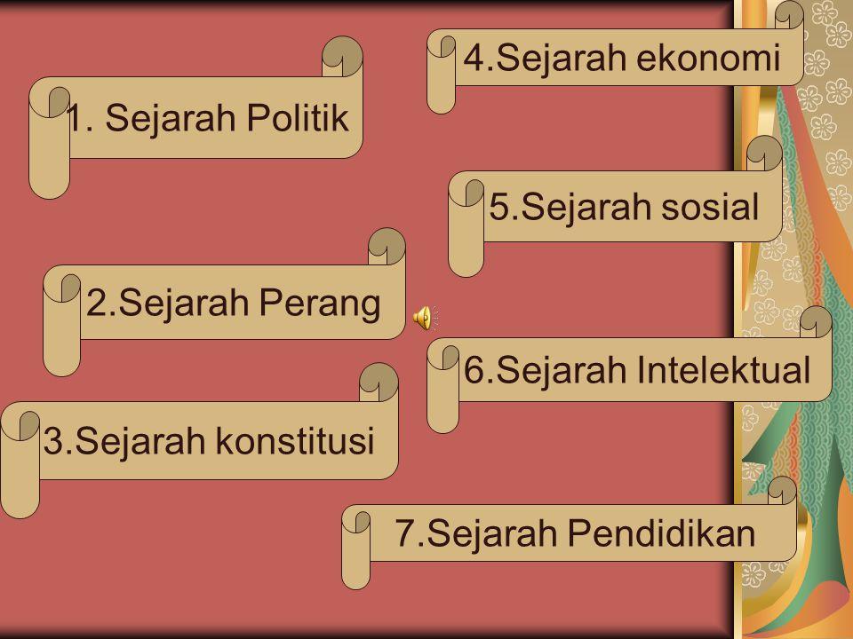 4.Sejarah ekonomi 1. Sejarah Politik. 5.Sejarah sosial. 2.Sejarah Perang. 6.Sejarah Intelektual.