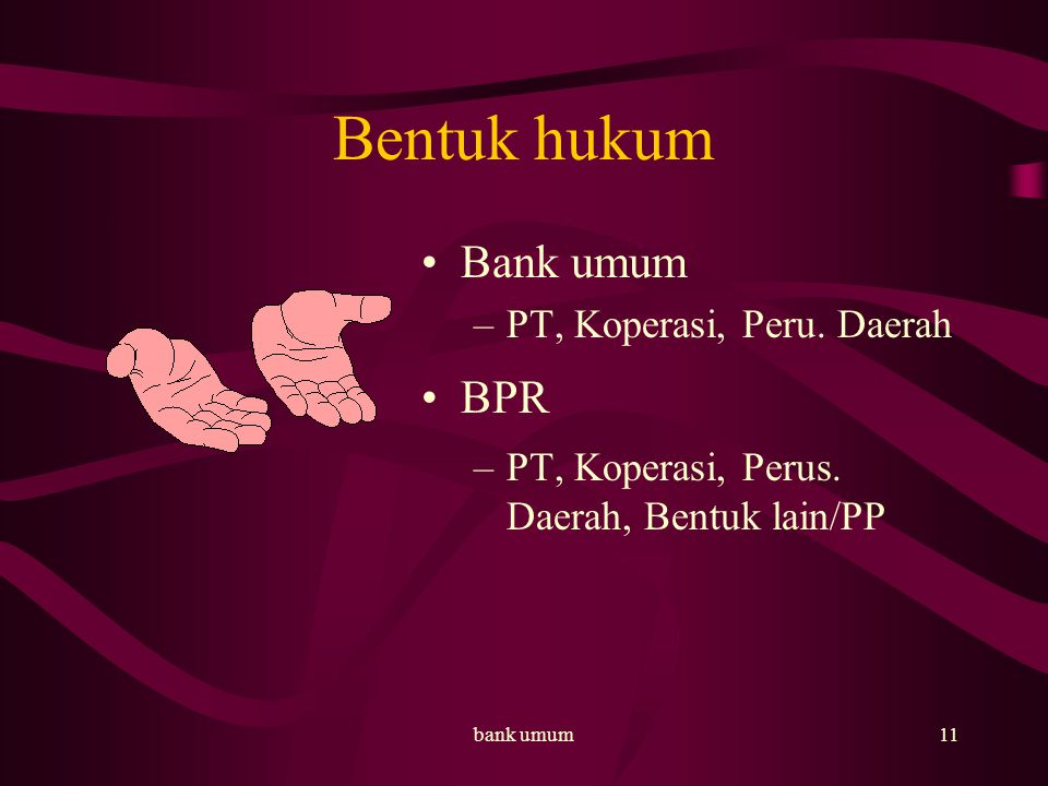 Bentuk hukum Bank umum BPR PT, Koperasi, Peru. Daerah