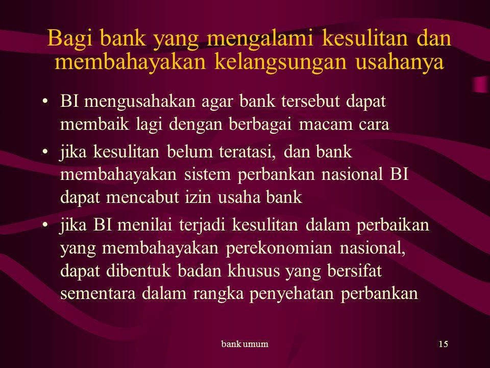 Bagi bank yang mengalami kesulitan dan membahayakan kelangsungan usahanya