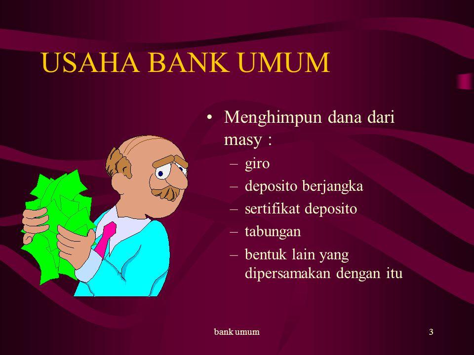 USAHA BANK UMUM Menghimpun dana dari masy : giro deposito berjangka