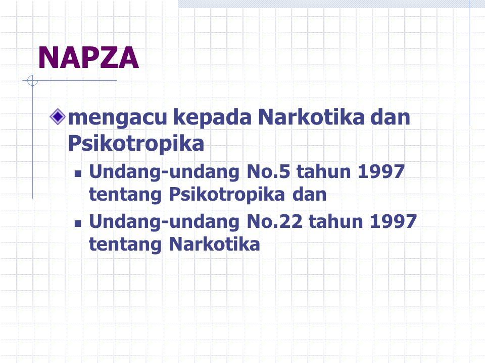 NAPZA mengacu kepada Narkotika dan Psikotropika